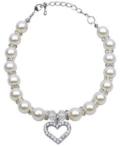 White Heart and Pearl Pet Necklace $16.99