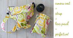 Cute camera bag + camera strap + lens pouch set! Padded! Darling! Cute Camera Bag, Camera Case, Dear Santa, Lens, Pouch, Camera Purse, Sachets, Klance, Porch