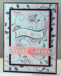 www.DenamiAddict.blogspot.com -  elegent hand stamped pattern paper card (created under 10 minutes)