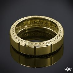 14k Yellow Gold Verragio Beveled Chamber Wedding Ring. This Men's Verragio Wedding Ring features a compelling design that will highlight your guys individuality without overpowering it.