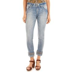 Juniors' Wallflower Luscious Curvy Embellished Hem Jeans, Teens, Size: 17, Med Pink