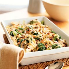 Turkey-Broccoli Bake. This healthy dish is low in sodium and high in protein. Sub olive oil for butter and heavy cream with milk, to make it even healthier.