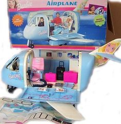 had this and loved it! Mattel Barbie Blue Jet Airplane 22007 in Original Box Loaded with Accessories Mattel Barbie, Childhood Toys, Childhood Memories, Vintage Barbie, Vintage Toys, Barbie Plane, Barbie Playsets, Barbie Party, Barbie Accessories