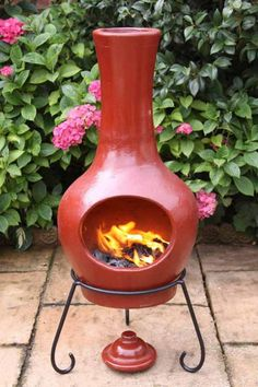 Large Contemporary Clay Chimenea in Red