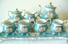 Meissen eight piece vintage tea set - gold and floral - including large tray ~ http://www.ebay.com/itm/Meissen-eight-piece-vintage-tea-set-gold-and-floral-including-large-tray-/190686948231