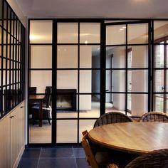 Metalen stalen deuren pinterest - Glazen salontafel en smeedijzer ...
