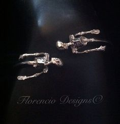 One Last Kiss Silver Skeletons  bracelet by FlorencioDesigns,