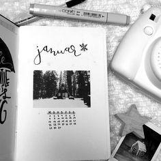 I started doing my first bullet journal!!🙌🏼🌟 I'm so excited about it and also a bit proud of what I've already done for January. This is something like a cover for January which I really like🙈 I edited this to black and white but I'm not sure if I'll keep this for the other pages of my journal.🎀 What would you prefer?  •  #draw #drawings #art #drawing #paper #pen #artist #sketch #pencil #creative #photography #photos #lifestyle #blog #blogger #paint #painting #bulletjournal #calendar…