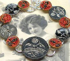Antique Button Bracelet, Edwardian Metal Buttons, Art Deco Flower Buttons    Floral designs on the 11 antique Victorian & Edwardian buttons that 64