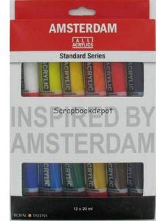 1 set van 12 tubes Amsterdam Acrylverf 20 ml, Scrapbookdepot