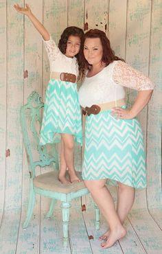 Mommy and me dress alike.