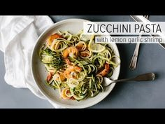 This zucchini pasta with lemon garlic shrimp is a delicious, gluten-free (and of course low-carb) version of shrimp scampi and linguini. Traditional pasta is replaced with zucchini noodles or zucchini pasta for a lighter, healthier, more veggie-packed and nutritious meal.