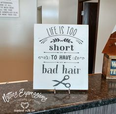is too short to have bad hair - Rustic Wood Sign Life is too short to have bad hair Wood Sign - Netties ExpressionsLife is too short to have bad hair Wood Sign - Netties Expressions Silhouette Sign, Silhouette Cameo Projects, Rustic Wood Signs, Wooden Signs, Rustic Salon, Wood Sealer, Salon Signs, Beauty Salon Decor, Chalkboard Signs