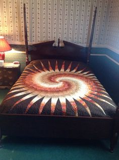 Disappearing Spiral Bargello Bed Quilt by KoontzsHandQuilting