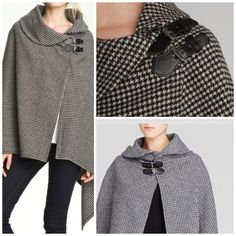 Ralph Lauren Lauren Houndstooth Cape Shawl Bridle Poncho Wool NWT$279 00 ONE SZ | eBay