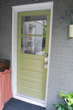 this that house exterior paint color glidden spanish olive green door - Exterior Back Doors