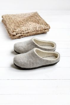 031f92f68 Wool slippers with leather soles Felt slippers