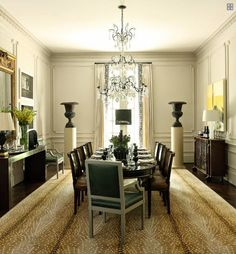 Grand Dining Room, Atlanta - transitional - dining room - atlanta - by Robert Brown Interior Design Interior Design Atlanta, Home Interior, Interior Ideas, Antelope Rug, Dining Area, Dining Table, Fine Dining, Console Table, Chateau Hotel