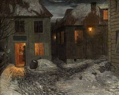 """Theodor Kittelsen - """" Interior from a small town, Kragerø"""" 1881 (Note: Kittelsen was a Norwegian painter and one of the most popular artists in Norway for his nature paintings and illustrations of fairy tales and trolls. — A Thousand Winds. Nocturne, Jakub Schikaneder, Ai No Kusabi, Most Popular Artists, Building Art, Collaborative Art, Nature Paintings, Small Paintings, Art Paintings"""