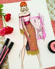 이미지: 사람 1명 Fashion Portfolio Layout, Fashion Design Sketchbook, Fashion Design Drawings, Fashion Sketches, Fashion Figure Drawing, Fashion Drawing Dresses, Fashion Illustration Dresses, Arte Fashion, Fashion Hub