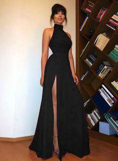 a4b2a9ba552 High Neck black Long Prom Dress Sexy High Split Women Evening Party Formal  Black Girl Prom