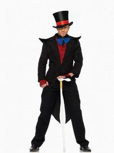 Men's Halloween Role-playing Costumes Coat+Vest+Hat+Gloves+Tie One Color Black  -$39.43