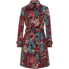 Burberry Prorsum Embroidered floral-print cotton-blend trench coat found on Polyvore featuring outerwear, coats, jackets, jakne, red, red trenchcoat, floral print trench coat, quilted coat, burberry trenchcoat and boho coat