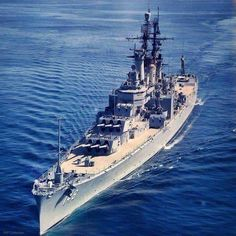 """""""USS NEWPORT NEWS"""" (CA-148) was a (717.6') Des Moines Class Heavy Cruiser – Commissioned: 29 January 1949 – Crew: 1,667 Officers and Enlisted – Armament: 9 x 8 Inch (203mm) Guns (3 x Triple Turrets) 12 x 5 Inch (127mm) AA Guns and 12 x 3 Inch (76mm) AA Guns – Decommissioned: 27 June 1975 and Sold for Scrap: 25 February 1993"""