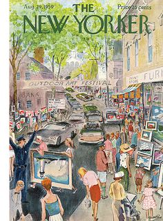 """Garrett Price, """"Mystic Outdoor Art Festival"""", illustration used for the August 1959 cover of New Yorker magazine. New Yorker Covers, The New Yorker, Vintage Illustration Art, Graphic Illustration, Vintage Art, Vintage World Maps, Vintage Photos, Capas New Yorker, Painting Fur"""