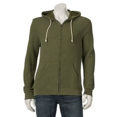 Men's Urban Pipeline® Waffle Full-Zip Hoodie, Size: Small, Med Green