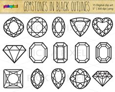 Gemstones Diamonds in Black outlines   Digital clip by pickApixel, $4.00