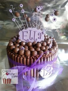 Image result for chocolate birthday cake with flowers