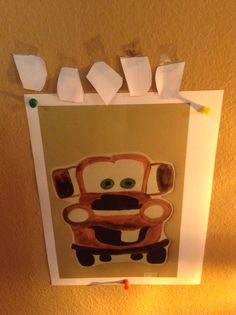 Pin the tooth on Mater game. Simple print out, with construction paper and tape for tooth and spin kids around with blind fold it was too fun!