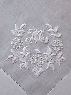 Beautiful whitework monogram - M
