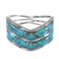 Authentic Sterling Silver And Turquoise Inlay Jewelry Ring Size 8 RX94224