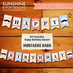 INSTANT DOWNLOAD - Vintage Mustache DIY Party Printable Happy Birthday Banner - Little Man / Mustache / Moustache Bash