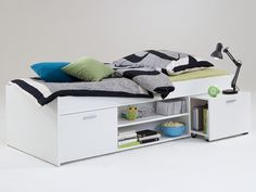 Karly bed in white with storage and pull out bedside table - 24742 modern, contemporary bedroom furniture set sale. Bedroom Furniture Sets Sale, Contemporary Bedroom Furniture Sets, Table Furniture, White Storage Cabinets, Retro Bed, Modern Chest Of Drawers, Fabric Dining Chairs, Storage Places, Bed Storage