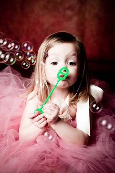 Girl and Bubbles.  Precious Idea - Birthday, Spring??
