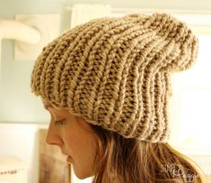 Slouchy Knit Purl Hat - Free Pattern | simplymaggie.com