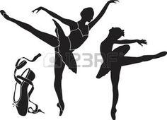 ballet silhouette: Ballet Silhouette Vector Illustration