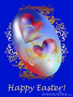 Two hearts in a colorful egg with golden arabesques and easter wishes.