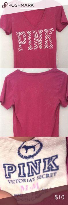 Marled pink shirt Marled pink shirt with pink and white zebra print letters.  Excellent condition with no rips or stains.  Shirt is designed so that color has marled effect PINK Victoria's Secret Tops Tees - Short Sleeve