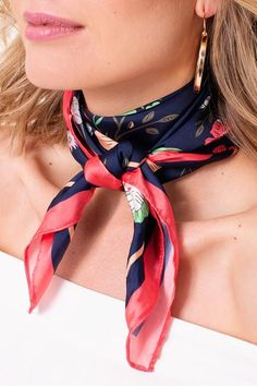 Oct 2019 - Multi Floral Silky Square Scarf – BPosh Beauty Bar & Boutique Rachel Zoe, Square Scarf Tying, Silk Neck Scarf, Summer Scarves, How To Wear Scarves, Scarf Hairstyles, Neck Scarves, Facon, Look Chic
