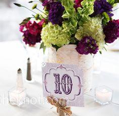 Plum & Sage Wedding :  wedding decor diy plum reception Purple Green Centerpiece