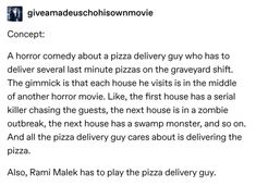 """""""Hello movie theater, I would like to purchase every ticket you have for """"Rami t. - """"Hello movie theater, I would like to purchase every ticket you have for """"Rami the Monster Pizz - 9gag Funny, Funny Memes, Hilarious, Hello Movie, Star Pizza, Horror, Tumblr Users, Writing Promts, Meme Comics"""