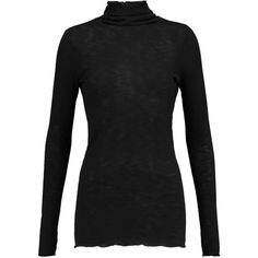 ENZA COSTA - Ribbed Cotton-jersey Turtleneck Sweater (£42) ❤ liked on Polyvore featuring tops, sweaters, black, jersey sweater, polo neck sweater, enza costa tops, enza costa sweater and jersey top