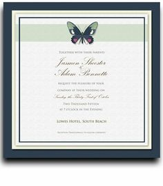 180 Square Wedding Invitations - Butterfly Moss Spice by WeddingPaperMasters.com. $468.00. Now you can have it all! We have created, at incredible prices & outstanding quality, more than 300 gorgeous collections consisting of over 6000 beautiful pieces that are perfectly coordinated together to capture your vision without compromise. No more mixing and matching or having to compromise your look. We can provide you with one piece or an entire collection in a one stop sho...
