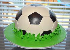 Soccer ball cake by Hope's Sweet Cakes Football Birthday Cake, 6th Birthday Cakes, Ball Birthday Parties, Twin Birthday, Football Cakes, Soccer Ball Cake, Soccer Party, Soccer Cakes, Geode Cake