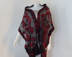 Passion for Red. A Black Sheer Nuno Felt Scarf or Shawl with Red Highlights -    Edit Listing  - Etsy