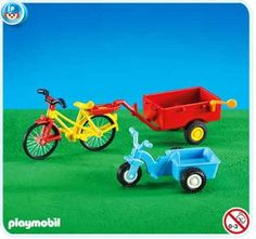 """Playmobil Tricycle and Bicycle with Trailer by Playmobil. $9.99. This item is part of the Direct Service range. This range of products are intended as accessories for or additions to existing Playmobil sets. For this reason these items come in clear plastic bags or brown cardboard boxes instead of a colorful retail box.. Playmobil does not usually reproduce these Add-On items nor have they designed them as regular retail products.. Addons are usually styles """"leftove..."""